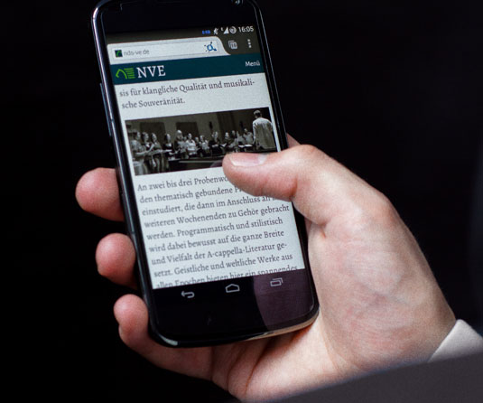 The homepage shown on a mobile phone.