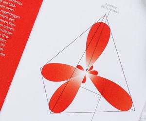 A carbon atom in its orbital representation.