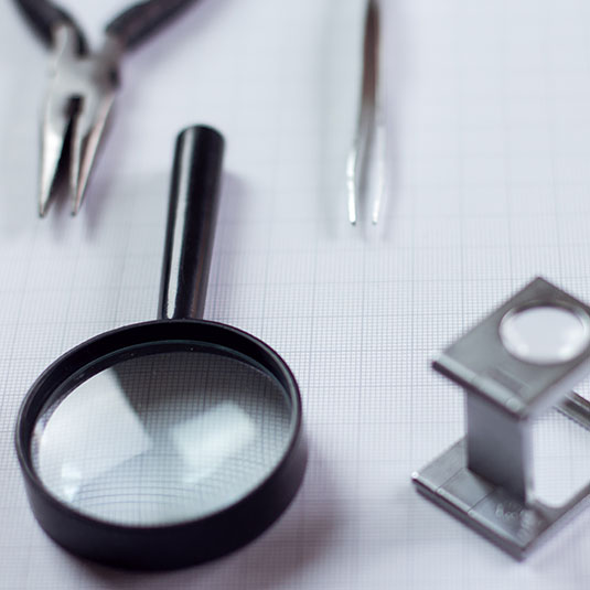 Some magnifying glasses.