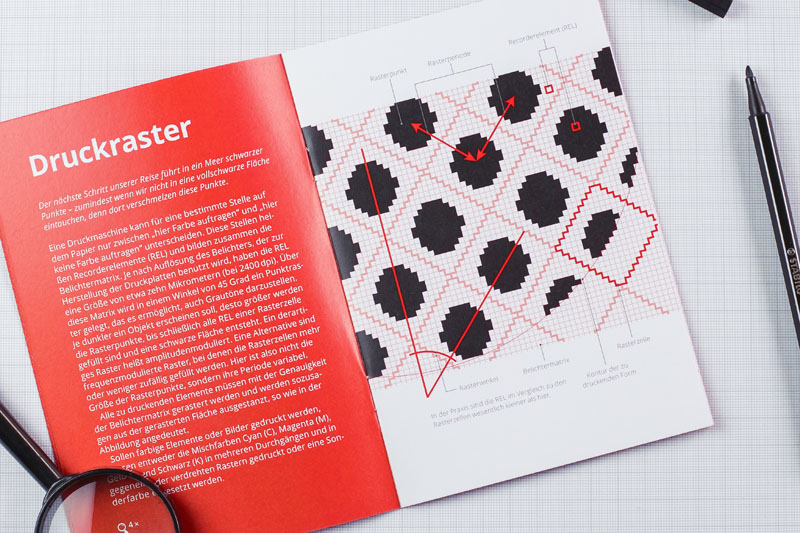 For the process of printing, the color has to be rasterized into tiny dots of ink.